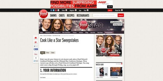 Http Www Foodnetwork Com Shows Food Network Star Sweepstakes