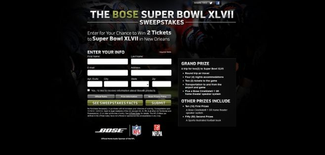 Bose Super Bowl XLVII Sweepstakes