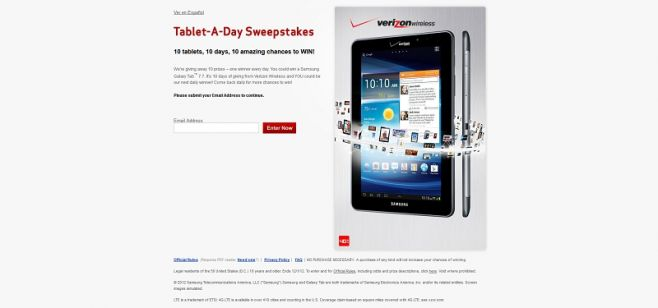 Verizon Wireless Tablet-A-Day Sweepstakes
