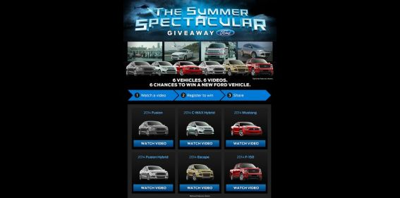 Ford Summer Spectacular Giveaway : 6 vehicules, 6 videos, 6 chances to win a new Ford vehicule of your choice !