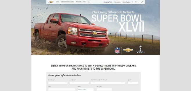 chevrolet.com/superbowl – Chevy Silverado Drive to the Super Bowl XLVII Sweepstakes