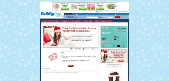 FAMILYTIME Help With Your Holiday Bills Sweepstakes