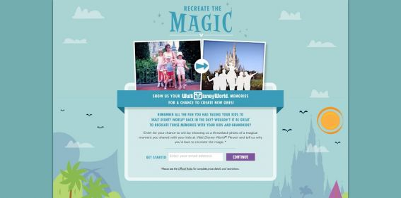 Disney Recreate the Magic Contest : Show your Walt Disney World memories for a chance to create new ones.