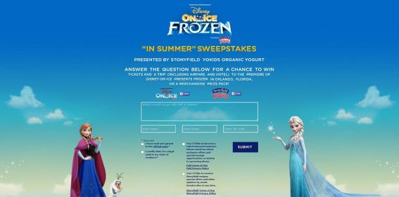 Disney On Ice Frozen presented by Stonyfield Yokids In Summer Sweepstakes : Attend the premiere of Disney on Ice Presents Frozen