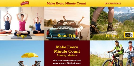 Tasty Bite Make Every Minute Count Sweepstakes : What is your favorite activity ?
