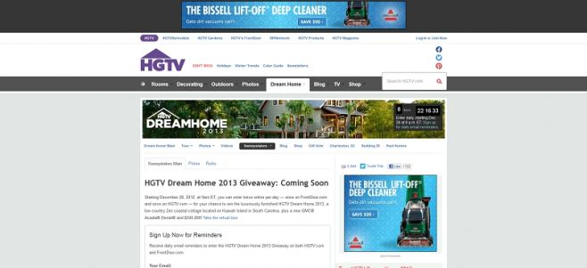 HGTV Dream Home Giveaway Sweepstakes