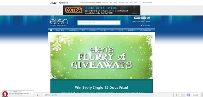 ellentv.com/FlurryofGiveaways  – ELLEN'S FLURRY OF GIVEAWAYS