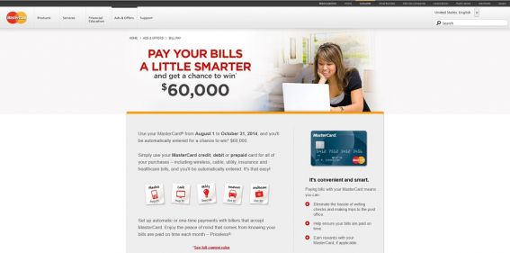 MasterCard Bill Payment Promotion : Pay Your Bills A Little Smarter And You Might Win $60,000 !