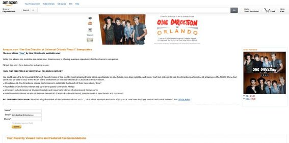 Amazon See One Direction at Universal Orlando Resort Sweepstakes : See One Direction Perform Live