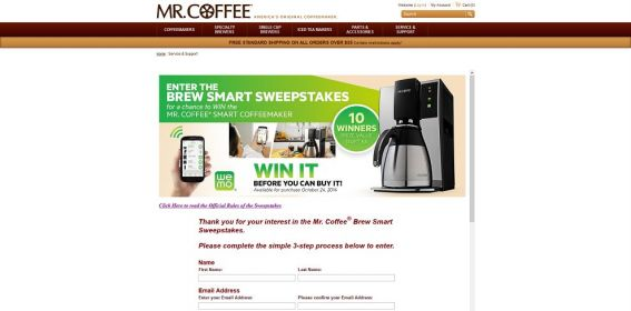 Mr. Coffee Brew Smart Sweepstakes : Win a Mr. Coffee Wemo Enable Coffeemaker