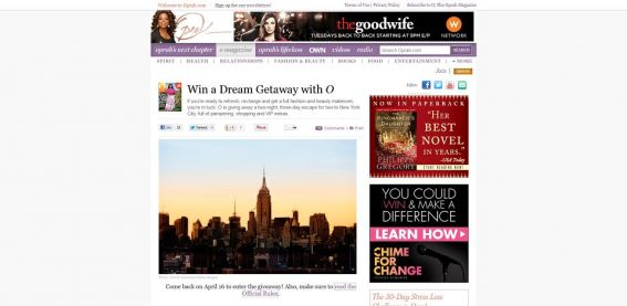 oprah.com/dreamgetaway – Dream Getaway with O Sweepstakes