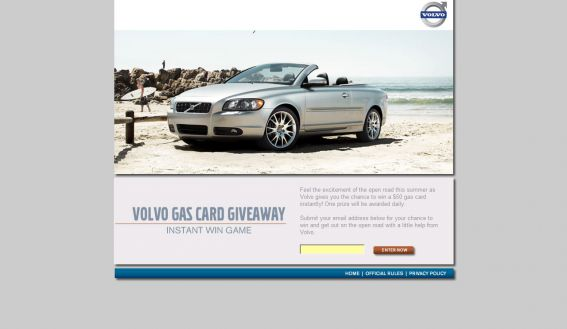 Volvo Gas Card Giveaway Instant Win Game