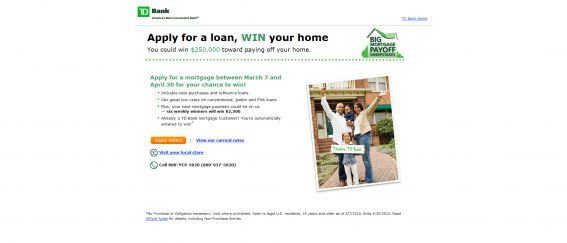 TD Bank BIG Mortgage Payoff Sweepstakes