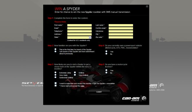 Win a Can-Am Spyder Roadster Sweepstakes