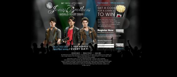 Burger King Jonas Brothers Game