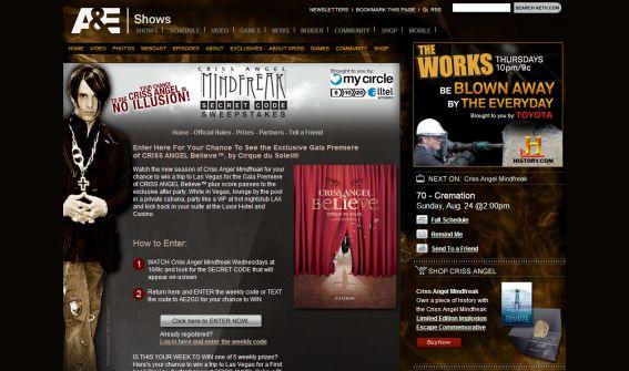 A&E Criss Angel Mindfreak Secret Code Sweepstakes