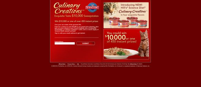 Culinary Creations $10,000 Sweepstakes