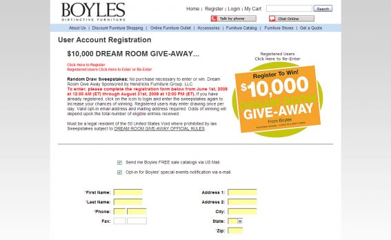 Boyles Distinctive Furniture $10,000 Dream Room Giveaway Sweepstakes