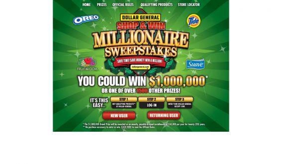 Dollar General Shop & Win Millionaire Sweepstakes