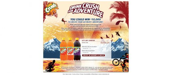 Crush Soda Drink Crush for Adventure Sweepstakes and Game