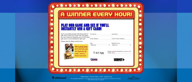 Winner Every Hour Instant Win Game