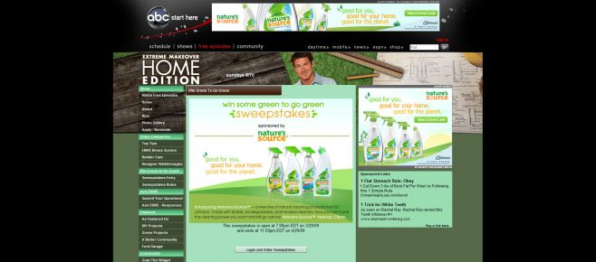Extreme Makeover: Home Edition Get Some Green to Go Green Sweepstakes