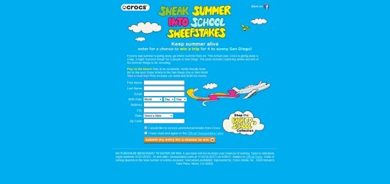 Sneak Summer into School Sweepstakes