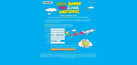 Sneak Summer into School Sweepstakes
