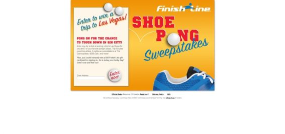 Finish Line Shoe Pong Sweepstakes