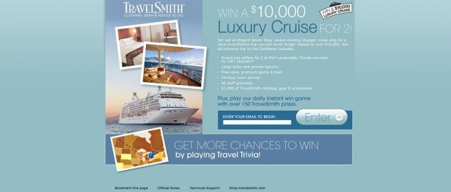 travelsmithcontests.com – $10,000 Luxury Cruise Sweepstakes and Instant Win