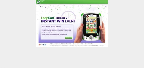LeapPad Hourly Instant Win Event