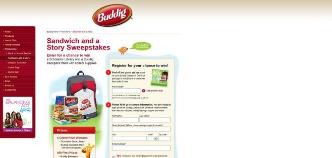buddig.com/sandwichandastory – Buddig Make A Sandwich and A Story Sweepstakes