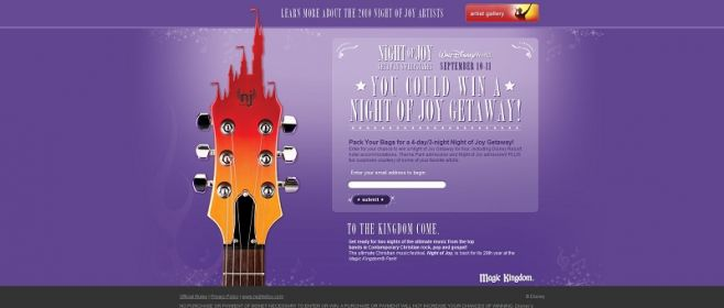nightofjoygetaway.com – Disney Night of Joy Getaway Sweepstakes
