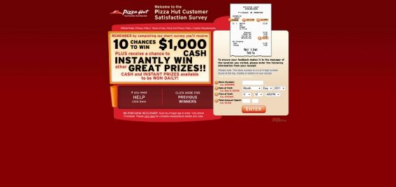 tellpizzahut.com – Pizza Hut Customer Satisfaction Survey Sweepstakes
