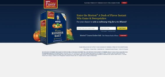Morton A Dash of Flavor Instant Win Game and Sweepstakes