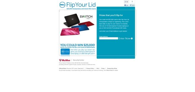 Dell.com/FlipYourLid – Dell Inspiron Flip Your Lid Instant Win Game and Sweepstakes