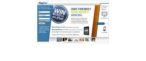 PayPal Send Money Sweepstakes