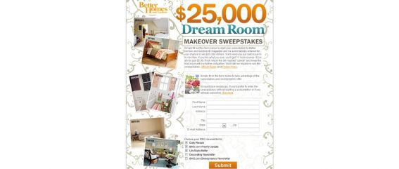 bhg.com/dream – $25,000 Dream Sweepstakes