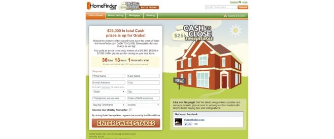 HomeFinder.com Cash to Close Sweepstakes