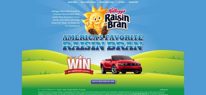kelloggsraisinbran.com – America's Favorite Raisin Bran Sweepstakes
