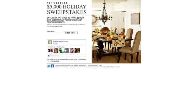 Pottery Barn $5,000 Holiday Sweepstakes
