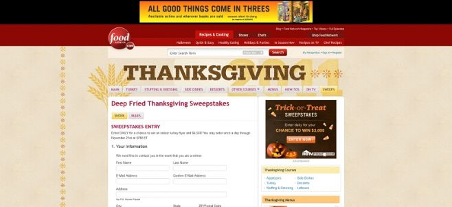 Deep Fried Thanksgiving Sweepstakes