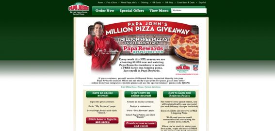 Papa John's Million Pizza Giveaway
