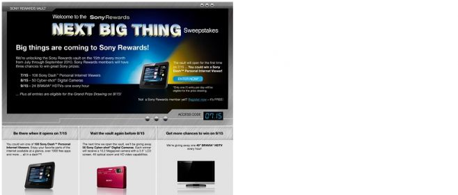 Sony Rewards Next Big Thing Sweepstakes