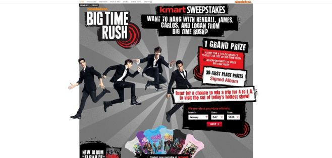 nick.com/KmartSweeps – Big Time Rush Kmart Sweepstakes
