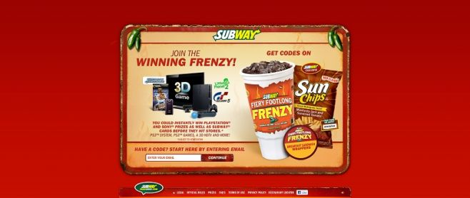 frenzy.subwayfreshbuzz.com – SUBWAY Fiery Footlong Frenzy Instant Win Game