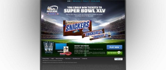 nfl.com/snickers – Go Nuts At Super Bowl With Snickers Instant Win Game