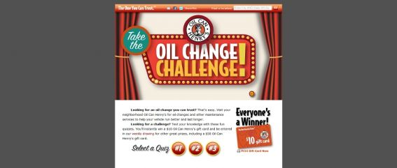 Oil Can Henry's Gift Card Contest