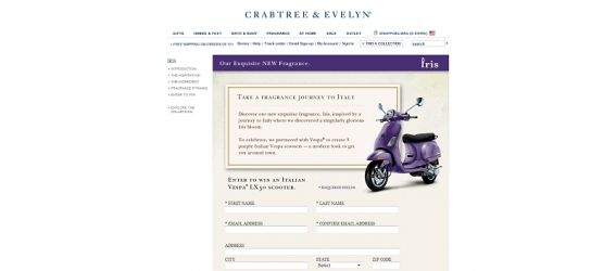 Crabtree & Evelyn VESPA Sweepstakes