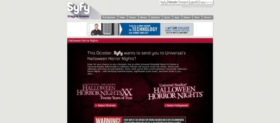 Halloween Horror Nights Sweepstakes